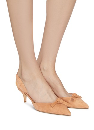 Figure View - Click To Enlarge - PAUL ANDREW - 'Rhea' knot suede slingback pumps