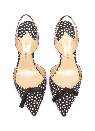Detail View - Click To Enlarge - PAUL ANDREW - 'Rhea' bow spot print slingback pumps