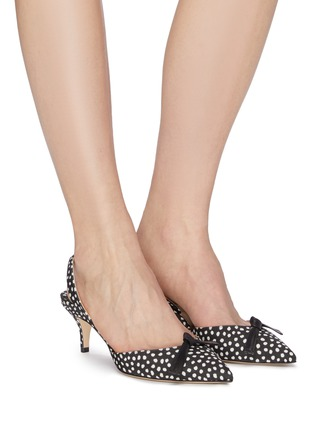 Figure View - Click To Enlarge - PAUL ANDREW - 'Rhea' bow spot print slingback pumps