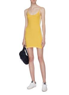 NAGNATA Stripe outseam organic cotton blend knit sleeveless dress
