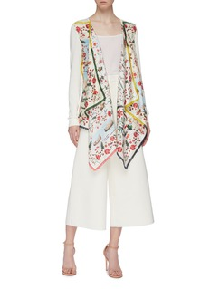 Oscar de la Renta Colourblock border graphic print scarf twill cardigan