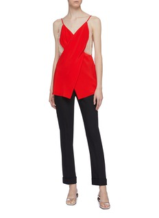 Victoria Beckham Lace panel cross front silk camisole top
