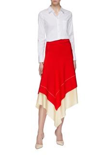 Victoria Beckham Layered colourblock hem asymmetric skirt