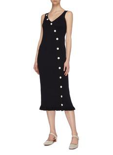 Short Sentence Curved button rib knit sleeveless dress