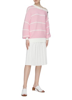 Short Sentence Button sleeve stripe rib knit sweater