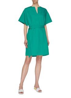 Short Sentence D-ring belted V-neck dress