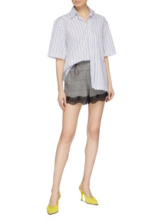 Ground Zero Lace cuff houndstooth check plaid shorts