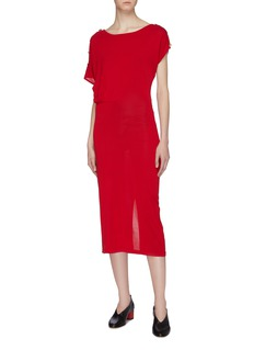 CRUSH Collection Asymmetric button sleeve silk dress
