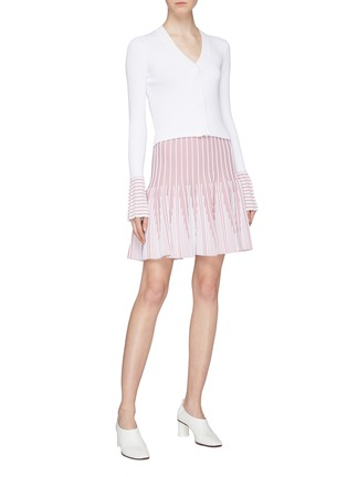 Figure View - Click To Enlarge - PH5 - Stripe flared cuff rib knit cardigan