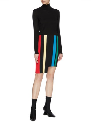 Figure View - Click To Enlarge - PH5 - Staggered hem stripe knit skirt
