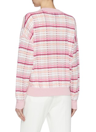 Back View - Click To Enlarge - PH5 - Check plaid velvet flock stripe mesh overlay sweater