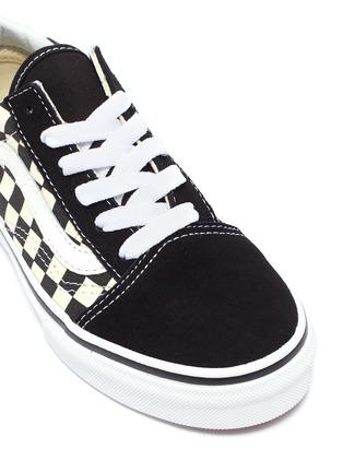 Detail View - Click To Enlarge - VANS - 'Old Skool V' checkerboard canvas kids sneakers