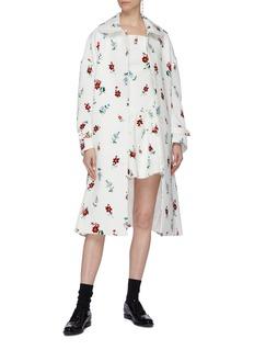 SHUSHU/TONG Asymmetric hem floral embellished mini dress