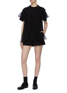 SHUSHU/TONG Tulle overlay ruffle tiered sleeve T-shirt