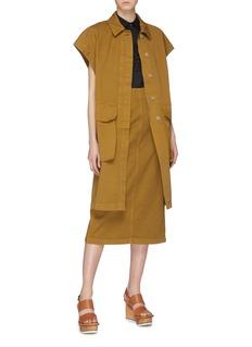 Dries Van Noten Flap pocket oversized twill short sleeve coat