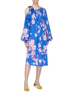 Dries Van Noten Drawstring asymmetric cold shoulder floral print dress