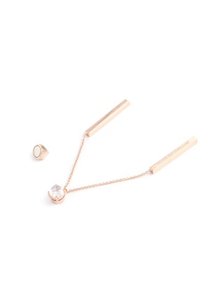Detail View - Click To Enlarge - OLIVIA YAO - 'Moonstone Reflection' chain bar drop earrings