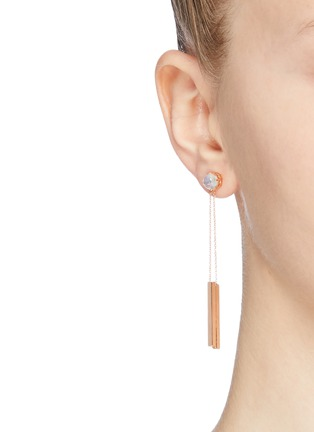 Figure View - Click To Enlarge - OLIVIA YAO - 'Moonstone Reflection' chain bar drop earrings