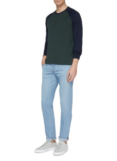 James Perse Colourblock knit long sleeve raglan T-shirt