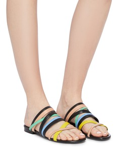 Pierre Hardy 'Alpha' colourblock strappy leather slide sandals