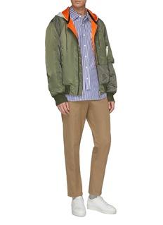 Solid Homme Detachable contrast hood patchwork bomber jacket