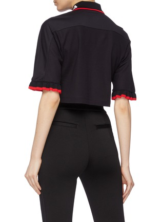 Back View - Click To Enlarge - FILA X 3.1 PHILLIP LIM - Ruffle cuff cropped half-zip polo top