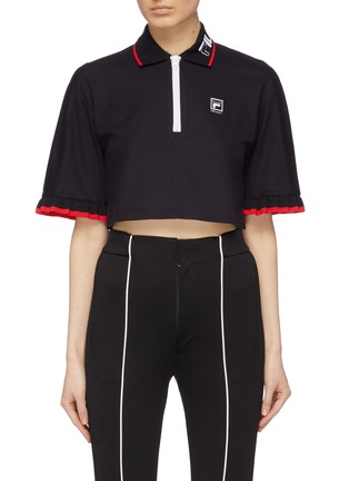 Main View - Click To Enlarge - FILA X 3.1 PHILLIP LIM - Ruffle cuff cropped half-zip polo top
