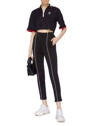 Figure View - Click To Enlarge - FILA X 3.1 PHILLIP LIM - Ruffle cuff cropped half-zip polo top