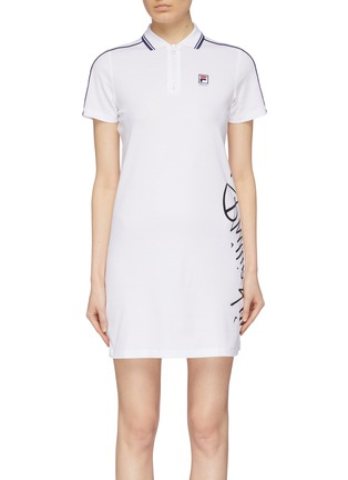 Main View - Click To Enlarge - FILA X 3.1 PHILLIP LIM - Logo print stripe sleeve half-zip polo dress
