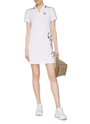 Figure View - Click To Enlarge - FILA X 3.1 PHILLIP LIM - Logo print stripe sleeve half-zip polo dress