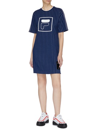 Figure View - Click To Enlarge - FILA X 3.1 PHILLIP LIM - Mix logo patchwork stripe T-shirt dress