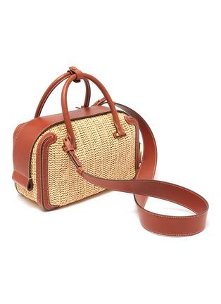 Detail View - Click To Enlarge - DELVAUX - 'Cool Box MM Bohème' leather trim woven raffia bag