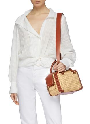 Front View - Click To Enlarge - DELVAUX - 'Cool Box MM Bohème' leather trim woven raffia bag