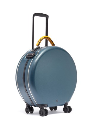 - OOKONN - Interchangeable handle round carry-on spinner suitcase –Dark Green/Yellow