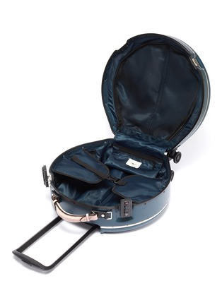 Detail View - Click To Enlarge - OOKONN - Interchangeable handle round carry-on spinner suitcase – Dark Green/Light Pink