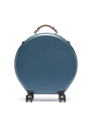 Main View - Click To Enlarge - OOKONN - Interchangeable handle round carry-on spinner suitcase – Dark Green/Light Pink