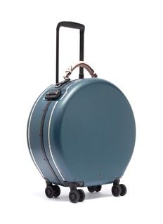OOKONN Interchangeable handle round carry-on spinner suitcase – Dark Green/Light Pink