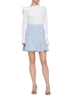 Oscar de la Renta Fringe pleated tweed skirt