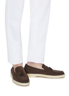 Santoni Nubuck leather tassel loafers