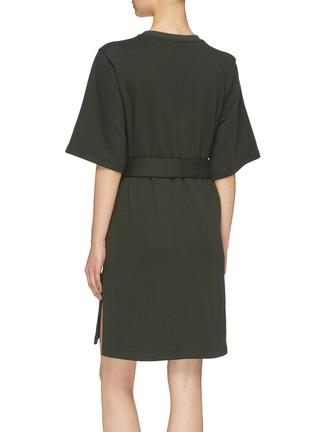 Back View - Click To Enlarge - MINKI - 'Cyathea' belted fringe slogan embroidered sweatshirt dress