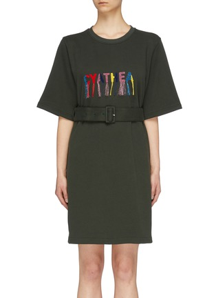Main View - Click To Enlarge - MINKI - 'Cyathea' belted fringe slogan embroidered sweatshirt dress