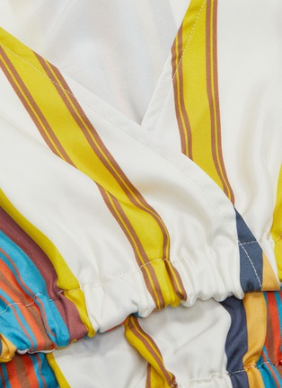 - MINKI - Bow tiered hem stripe silk cropped top
