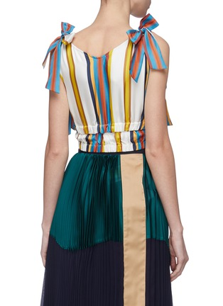 Back View - Click To Enlarge - MINKI - Bow tiered hem stripe silk cropped top