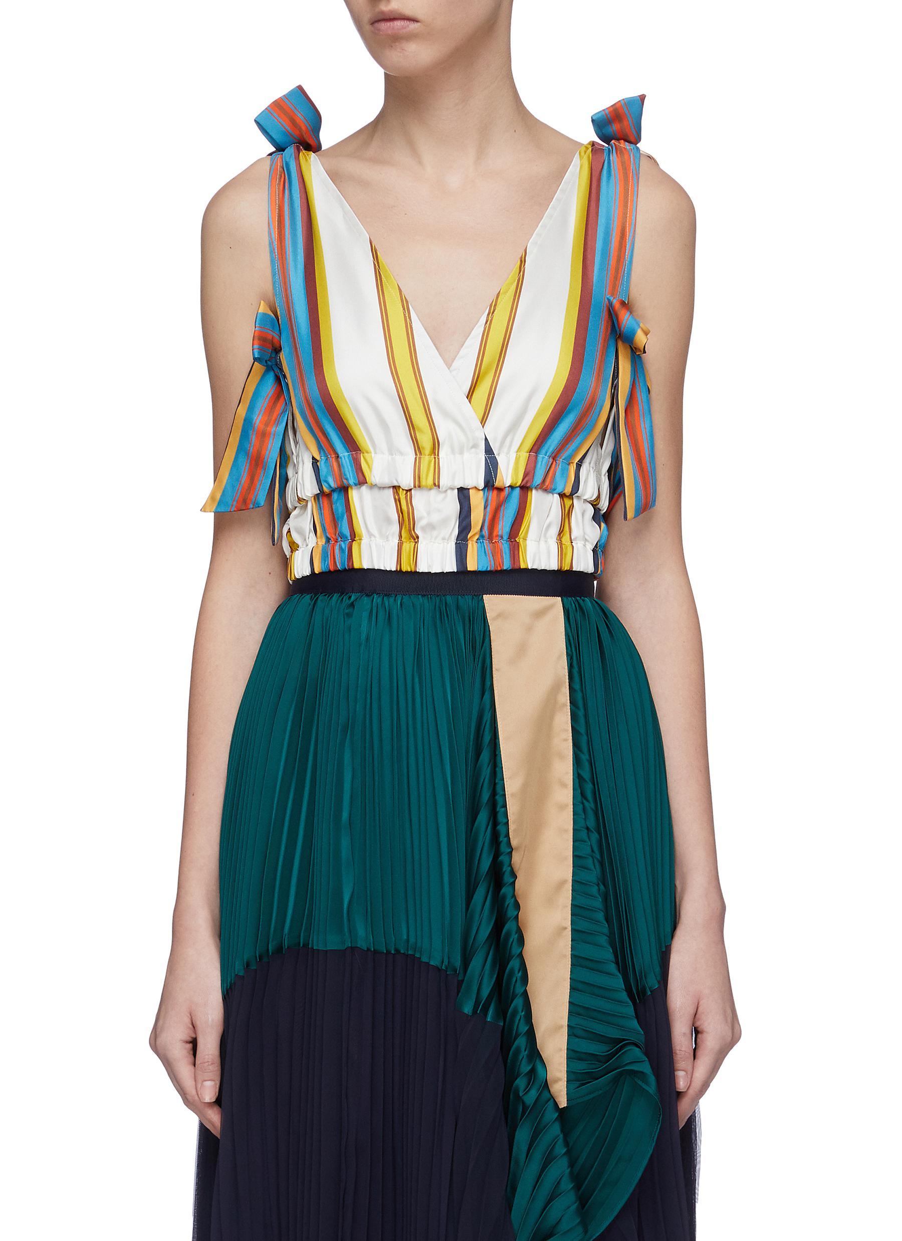 Bow tiered hem stripe silk cropped top by Minki