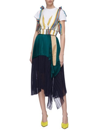 Figure View - Click To Enlarge - MINKI - Bow tiered hem stripe silk cropped top