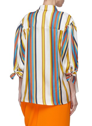 Back View - Click To Enlarge - MINKI - Bow cuff stripe silk shirt