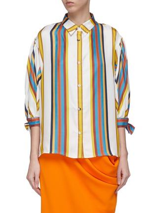 Main View - Click To Enlarge - MINKI - Bow cuff stripe silk shirt