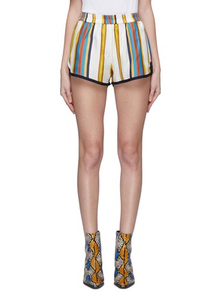 Main View - Click To Enlarge - MINKI - Contrast trim stripe silk shorts