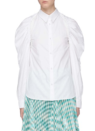 Main View - Click To Enlarge - MINKI - Convertible sleeve cutout back ruched sleeve shirt