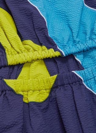 - MINKI - Abstract colourblock panelled waist sleeveless dress